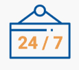 24/7 transcription icon