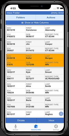 WebChartMD Mobile App Transcription